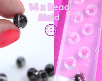 Facetted Tiny Round Bead Mold Silicone Rubber; 14 Pieces
