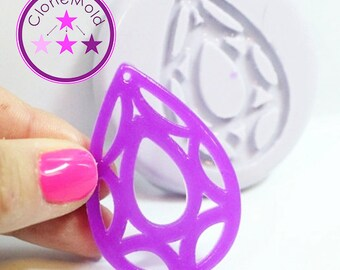 Prism Teardrop Pendant Earring Mold Silicone Rubber