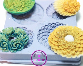 Multiple Flower Cabochon Silicone Rubber Mold