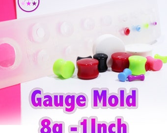 Plug Gauge Mold Multiple  Ear Plug Piercing Silicone Rubber Mold; Rounded End