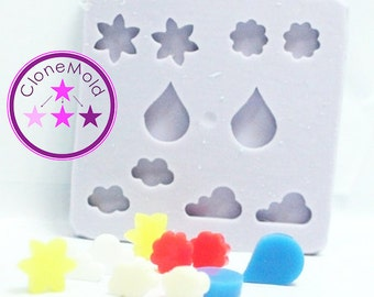 Stud Mold April Showers, May Flowers Earring Stud Silicone Rubber Mold
