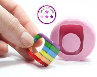 Ring Mold Rectangle Band ; Silicone Rubber; Size 7