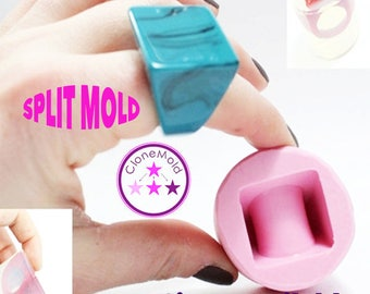 Ring Mold Square Ring Split Mold; Silicone Rubber; Size 5, 7.5, 8.5, 9, 10, 11