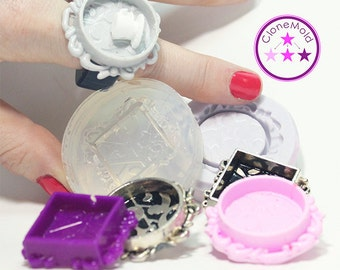 Bezel Mold Round or Square Lacey Pendant Bezel Silicone Rubber Mold