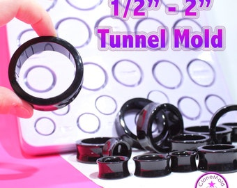 """Tunnel Plug Gauge Mold  Ear Piercing Silicone Rubber Mold; 1/2 - 2"""" gauges"""