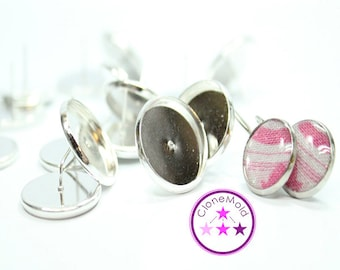 Sterling Silver Plated Earring Stud Blanks; 16 mm
