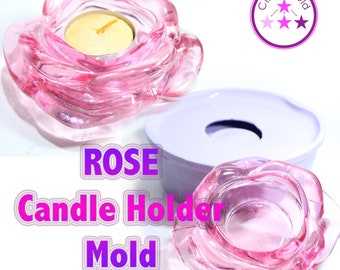Rose Flower Candle Tea light Holder Mold Silicone Rubber