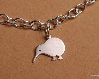 Tiny Kiwi Charm Bracelet Sterling Silver