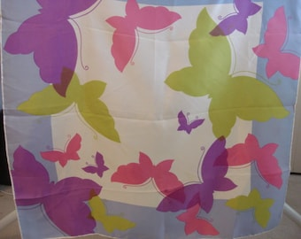 Vintage 1970's Colorful Acetate Butterfly Scarf