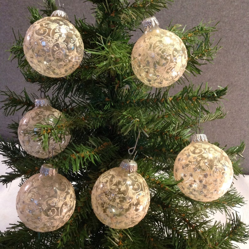 release date a5721 f2503 6 Clear Christmas Ornaments with Mica and Intricate White Designs (0-186) )