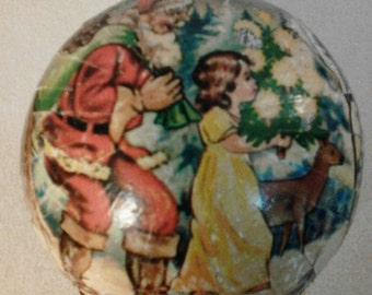 Vintage German Paper Mâché Christmas Gift Ball Ornament