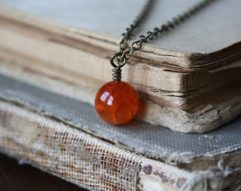 Fire Agate Necklace | Stone Orb Necklace