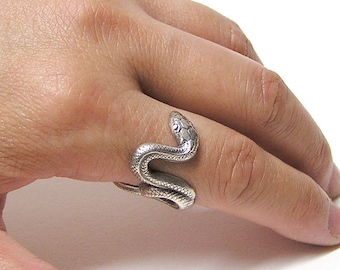 Silver SERPENT SNAKE RING, coils wrap around finger .925
