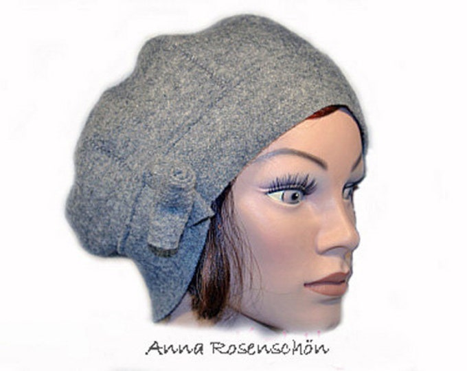 Featured listing image: Beanie grey wool beanie with flower