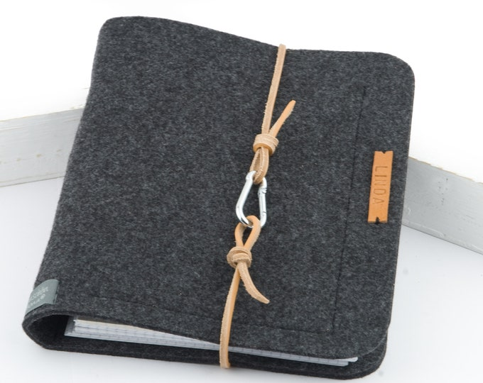 Featured listing image: Ring folder A5 ring book PERSONALISED dark grey, anthracite felt leather gift photo diary felt folder travel diary
