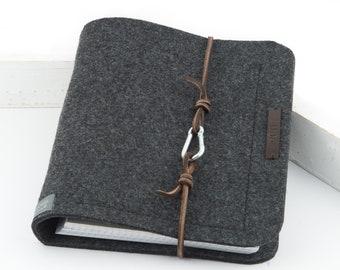 Ring folder A5 ring book PERSONALISED dark grey felt leather gift photo diary anthracite felt folder travel diary