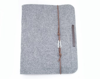 Ring Binder A4 Oversize Ring Binder PERSONALIZED Gray Felt Leather Transparent Film Gift Guest Directory Wedding Guestbook Document Folder Hotelm