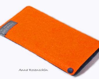 iPhone sleeve case felt  for iPhone orange and blue marine