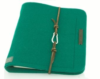 Ring folder A5 Ringbook PERSONALISIERBAR green felt leather gift
