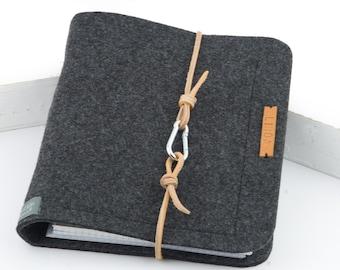 Ring folder A5 ring book PERSONALISED dark grey, anthracite felt leather gift photo diary felt folder travel diary