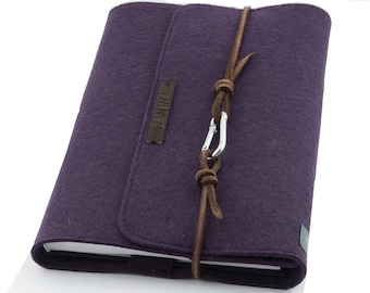 personalized purple violet calendar cover A5 felt notebook sleeve m. embossed name with leather ribbon carabiner diary gift letters
