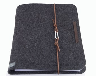 Ring Binder A4 Ring Binder PERSONALIZED dark gray Felt Leather Gift School Training Study Man Woman anthracite Document Map