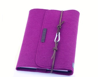 Personalized calendar sleeve notebook purple cyclam A5 leather felt gift name