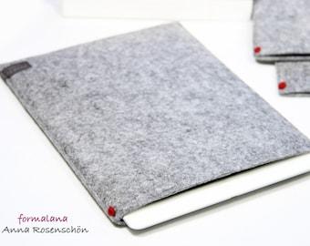 iPad Sleeve Felt Grey Case Red Dot Case Kindle Tablet Design Minimalist Gift
