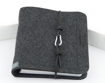 Ring folder A5 ring book PERSONALISED dark grey, anthracite felt leather gift photo diary felt folder travel diary grey