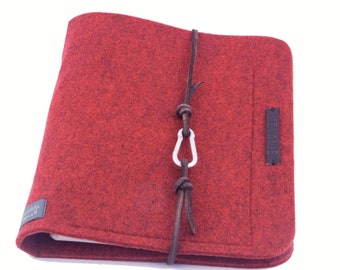 Ring folder red A5 ring book PERSONALISIERBAR felt leather gift