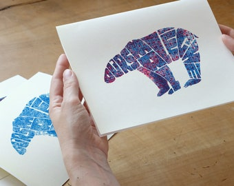 Wall Art ~ Polar Bear ~ A5 Hand Printed ArtPrint ~ Blue