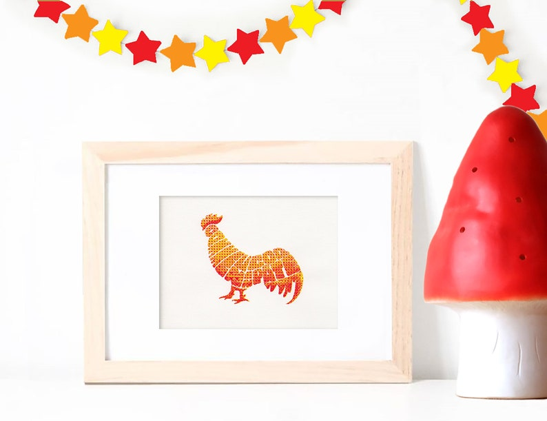 Handprinted Rooster Illustration in A5 Poster with French image 0