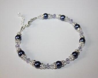 Dark Purple Pearl and Crystal Bracelet
