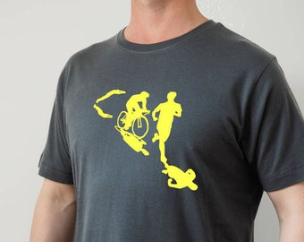 ee241171 Mens Triathlon T Shirt in grey and yellow, Triathlon gift, Fathers Day