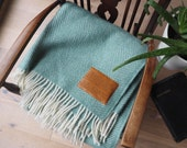 Wool Throw, Personalised with a Corinthians 13 Leather Patch. Wedding or Anniversary Gift