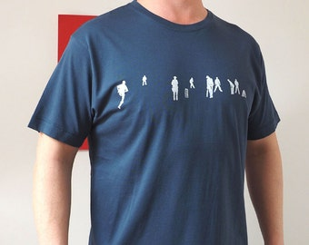 78459588d Sketched Cricket match print t shirt in white on blue, cricket t shirt,  cricket gifts for men, Christmas gift for men