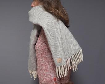 Personalised silver grey herringbone wool blanket scarf, cosy wrap for winter