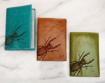 Stag Beetle Personalised Passport Holder, Personalized Passport Cover, Personalised Passport Case, Gift For Dad, Gift for Men, Gift for him