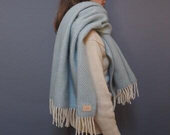 Personalised duck egg herringbone pure wool blanket scarf, cosy wrap gift for her
