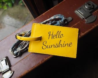 Yellow luggage tag, fun luggage tags, Hello Sunshine Leather luggage tag, Hello Sunshine, travel gift, Cool luggage tag, Bright luggage tag