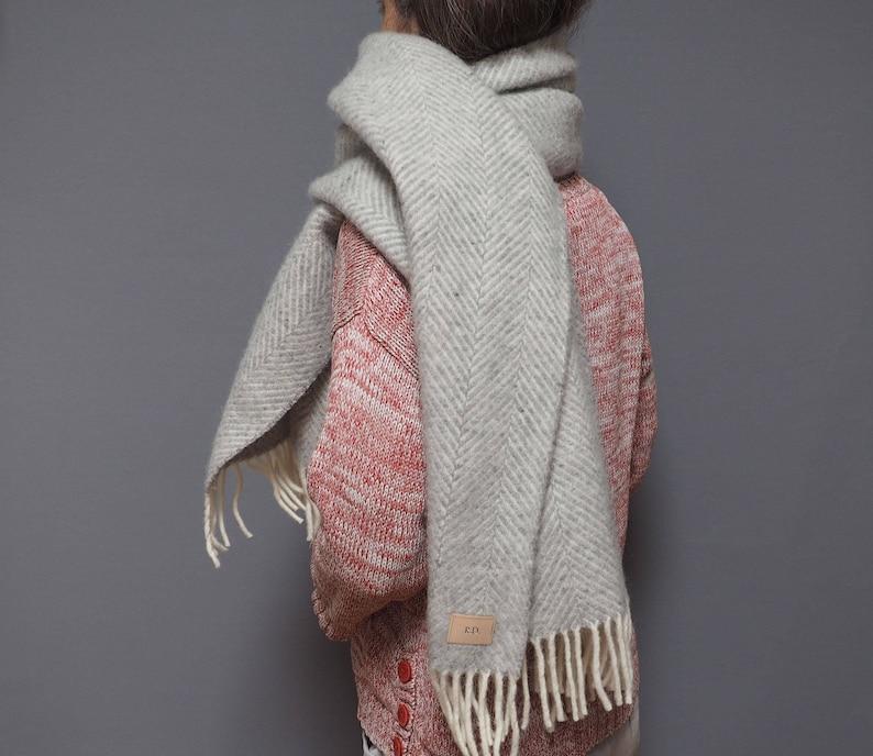 2aa70df4a Silver grey herringbone wool blanket scarf personalised with | Etsy