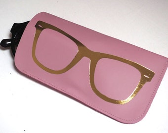 Leather sunglasses case in pink & gold, leather sunglasses case, glasses case