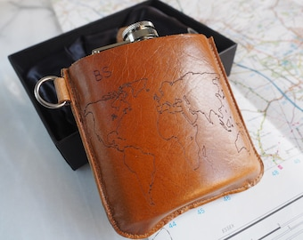 World Map Personalized Hip Flask 6 oz, personalised hip flask, custom hip flask, Fathers day, dad gift, gift for him, mens gift, groomsman