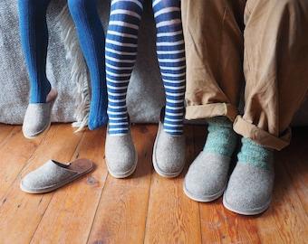 Personalised wool felt slippers, monogrammed gift