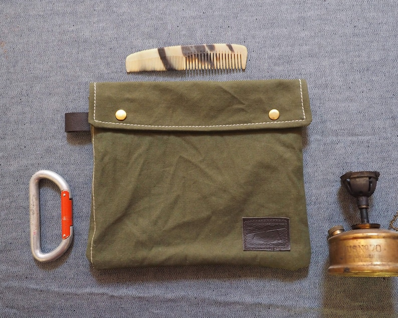 4124049307 Recycled WWII tents wash bag Dopp bag Mens toiletry bag