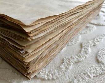 Bulk Coffee stained paper Coffee dyed paper Sheets of hand dyed paper Scrapbook paper Aged paper Old paper Vintage paper Journal pages DIY