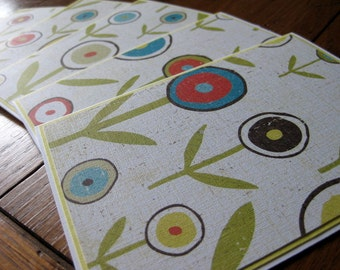 Big Bold Flowered Stationery with Coordinating Envelopes - Set of 6 - Handmade Set of Notecards