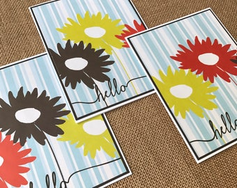hello on blue/white striped paper with big flowers - set of 3 notecards - handmade greeting cards