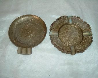 ASHTRAYS, 2 Vintage Decorative Brass Ashtrays, BRASS ASHTRAYS