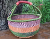 African basket - Large market basket - Bolga basket - farmers market basket - Picnic basket - garden basket - handwoven grass basket